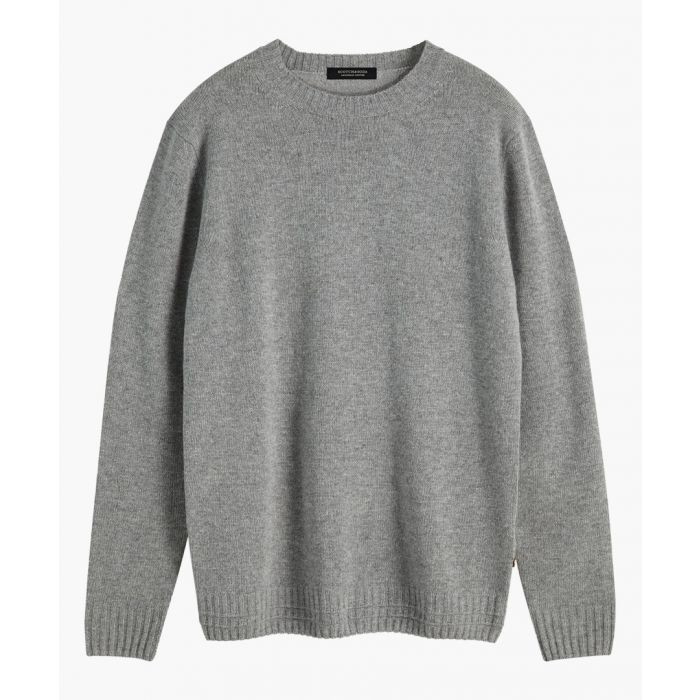 Image for Grey wool-blend crew neck jumper