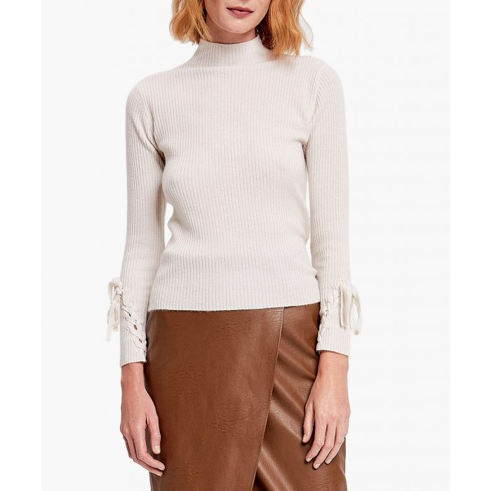 Image for White pure cashmere bow sleeve jumper