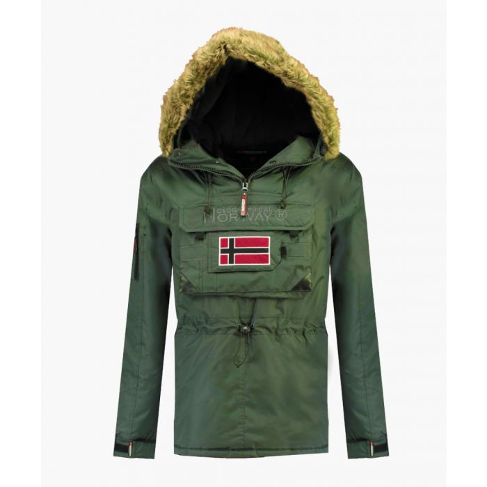 Image for Khaki pull-over semi-zipped padded parka