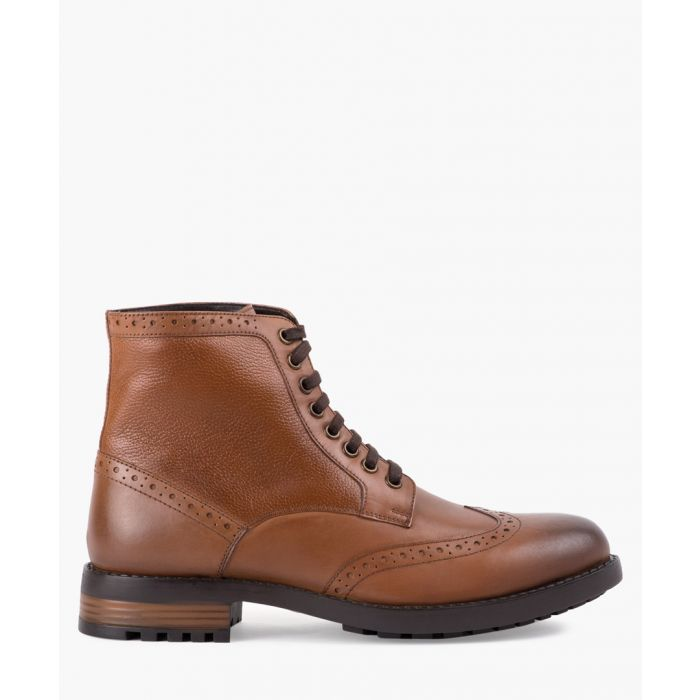 Image for Tan leather brogue boots