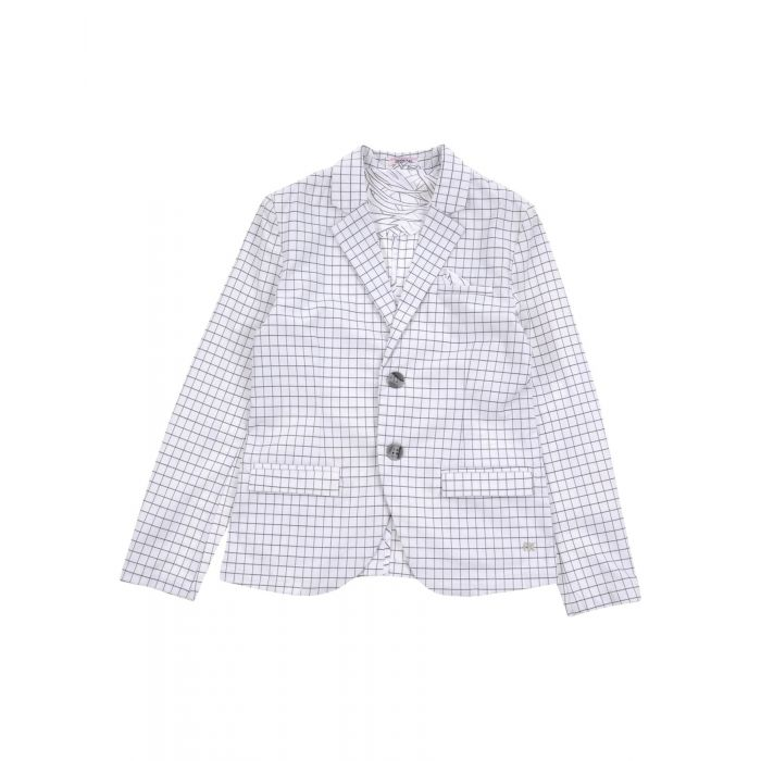 Image for White cotton patterned blazer