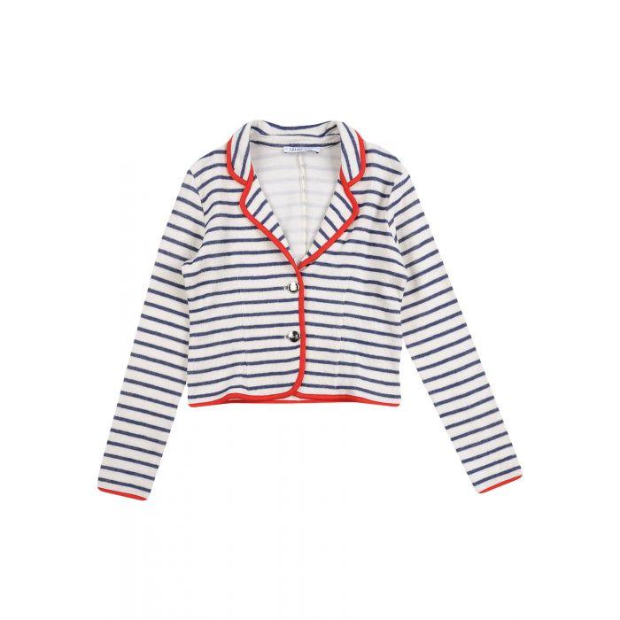 Image for Ivory cotton striped blazer