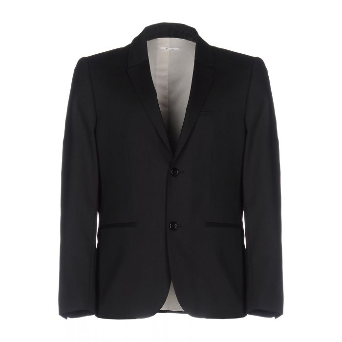 Image for Black and steel grey wool blazer