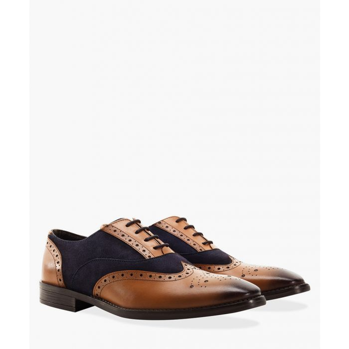 Image for Tan navy faux-leather suede brogues