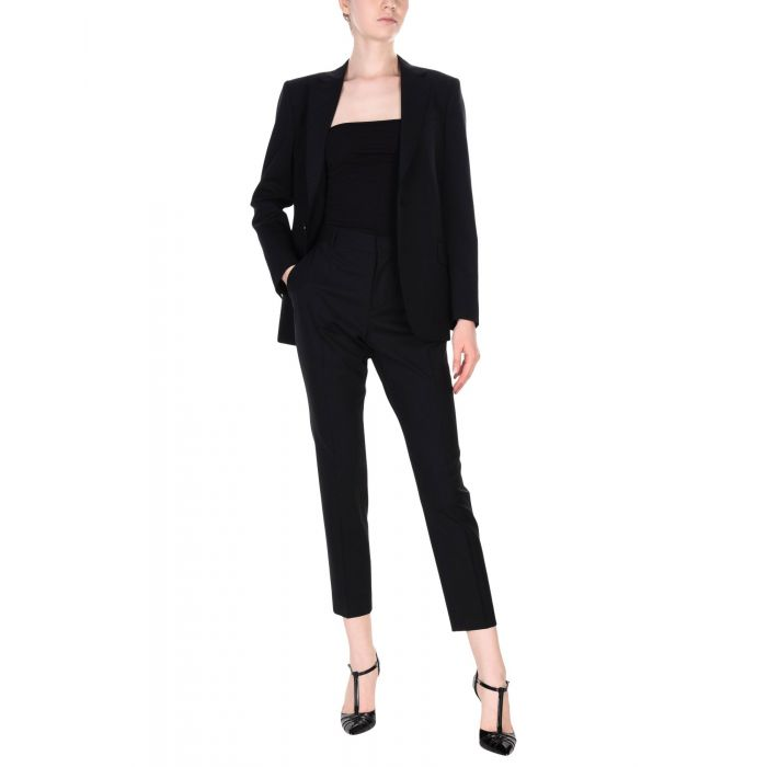 Image for 2pc womens dark blue and black stretch-wool suit