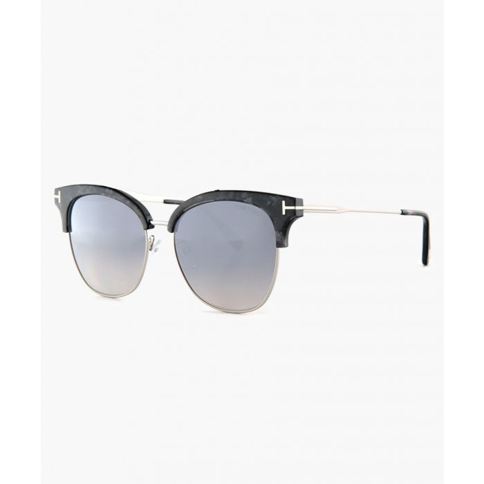 Image for Black and silver-tone sunglasses