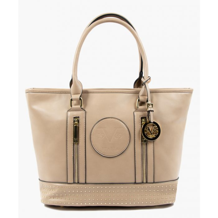 Image for Tan studded shopper bag