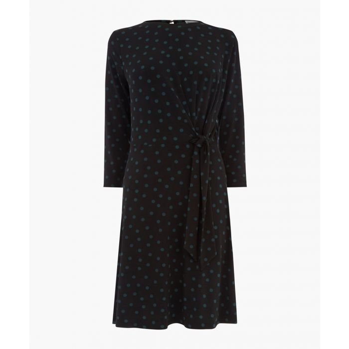 Image for Black polka-spot tie front dress