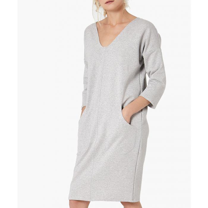 Image for Grey melange straight cut dress