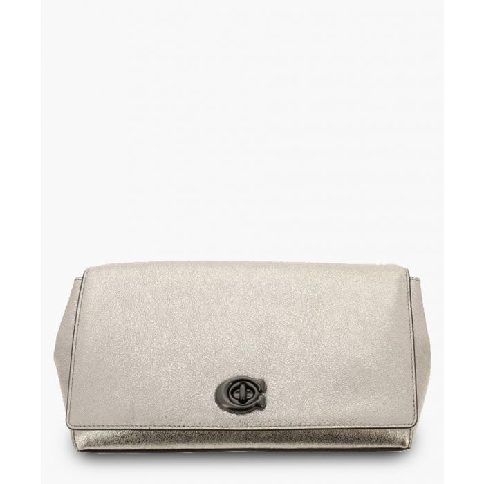 Image for Platinum-tone leather clutch