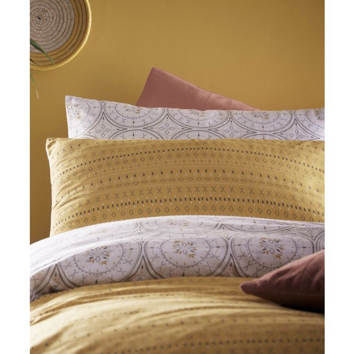 Image for Mandala grey and ochre cotton double duvet cover set
