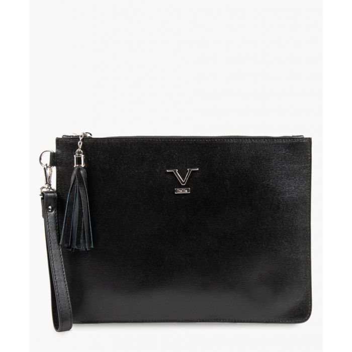 Image for Black leather logo zip-top clutch bag