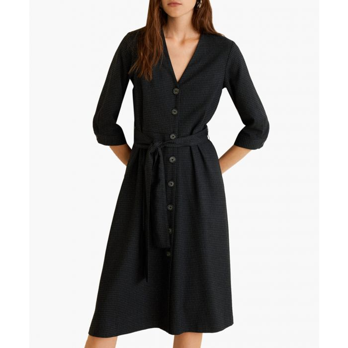 Image for Grey check bow dress