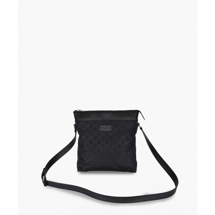 Image for Black canvas and leather trim messenger