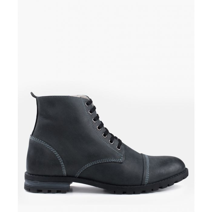 Image for Black leather fur lined boots