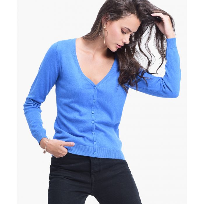 Image for Blue cashmere and silk blend cardigan