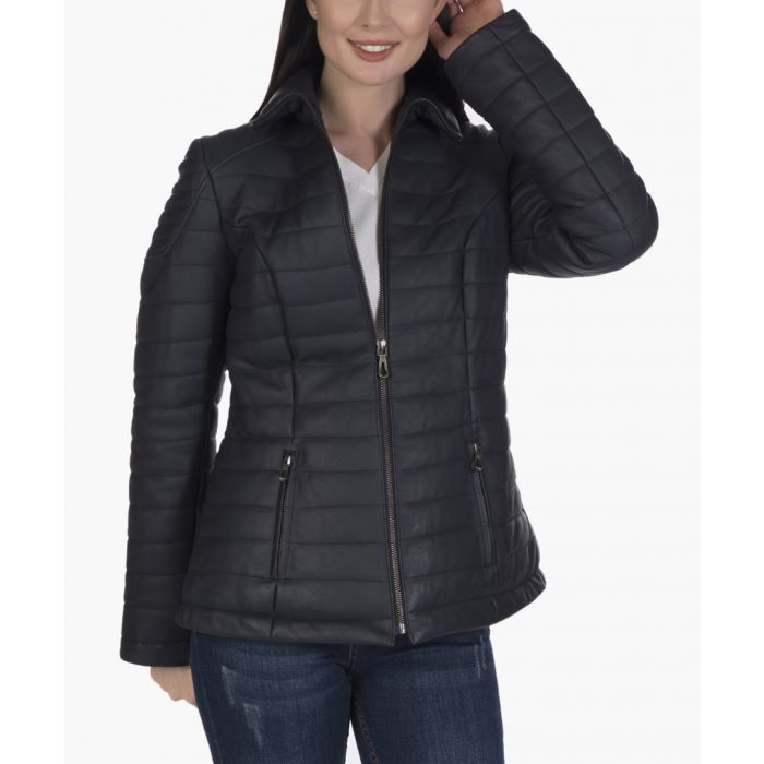 Image for Navy blue leather jacket
