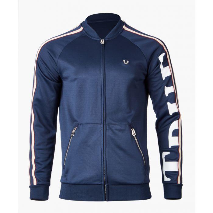 Image for Navy logo printed zip-up jacket