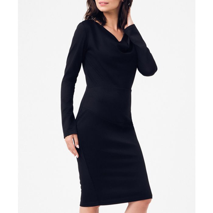 Image for Black v-neck long sleeve dress