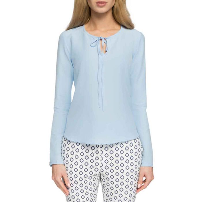 Image for Light blue tie front blouses