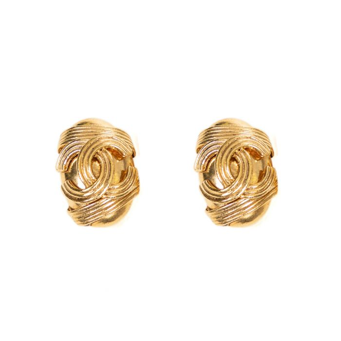 Image for Brass logo clip earrings