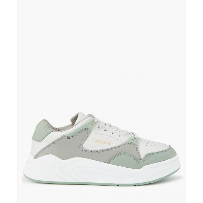Image for Grey and light green leather trainers