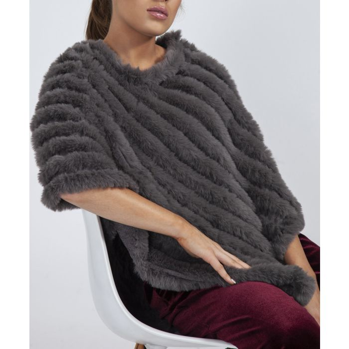 Image for Grey faux fur poncho