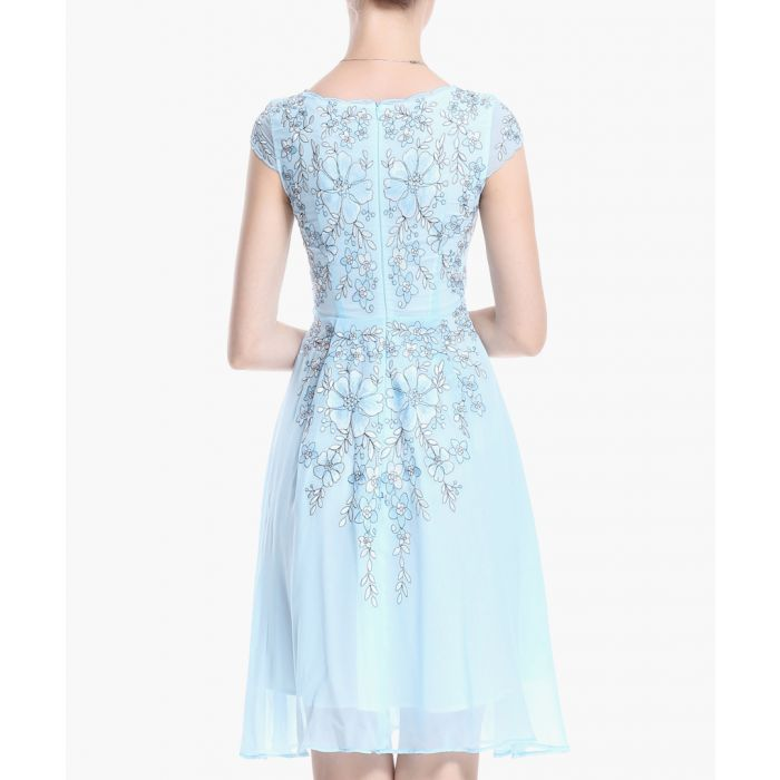 Image for Light blue pure silk embroidered dress