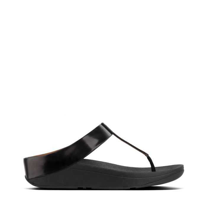 Image for Fino Crystal black toe-post sandals