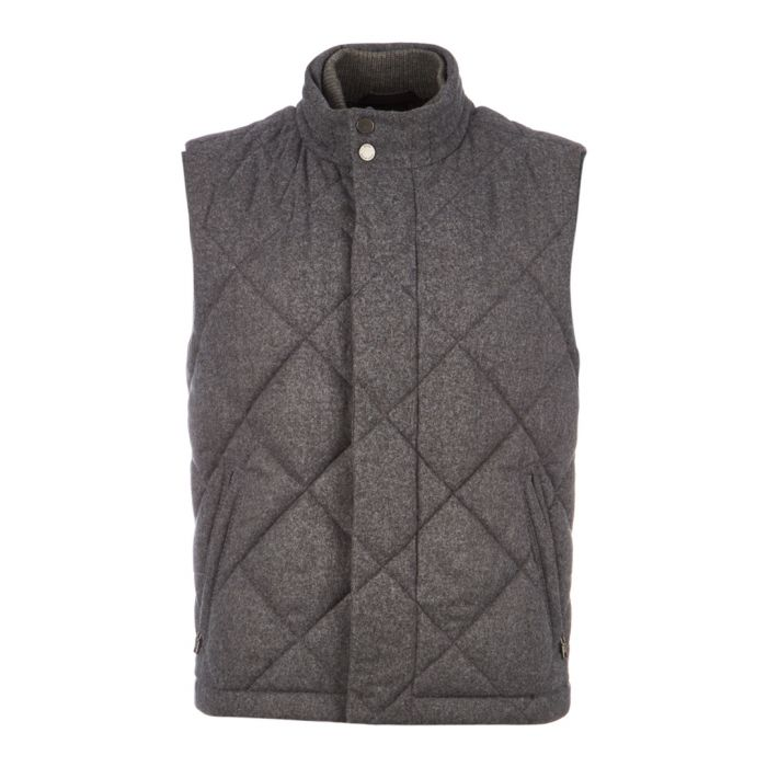 Image for Caano grey virgin wool blend quilt gilet
