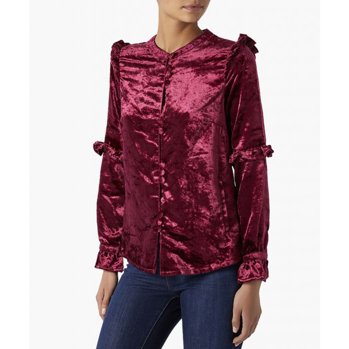 Image for Viola bright maroon velvet blouse