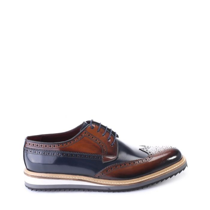 Image for Brown and navy patent leather brogues