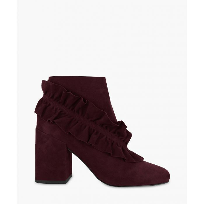 Image for Joelle wine suede ruffle ankle boots