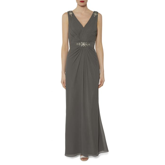 Image for Leyton grey beaded maxi dress