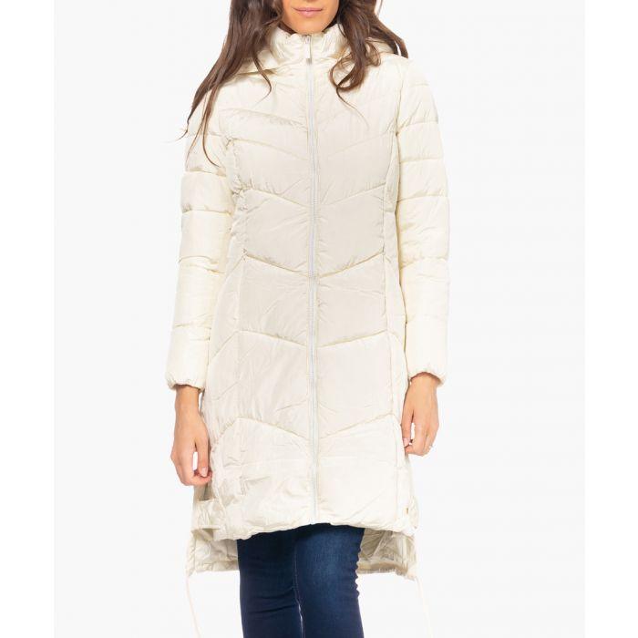 Image for Beige long-line puffer coat
