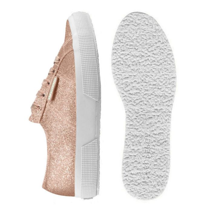 Image for rose gold-tone glitter trainers