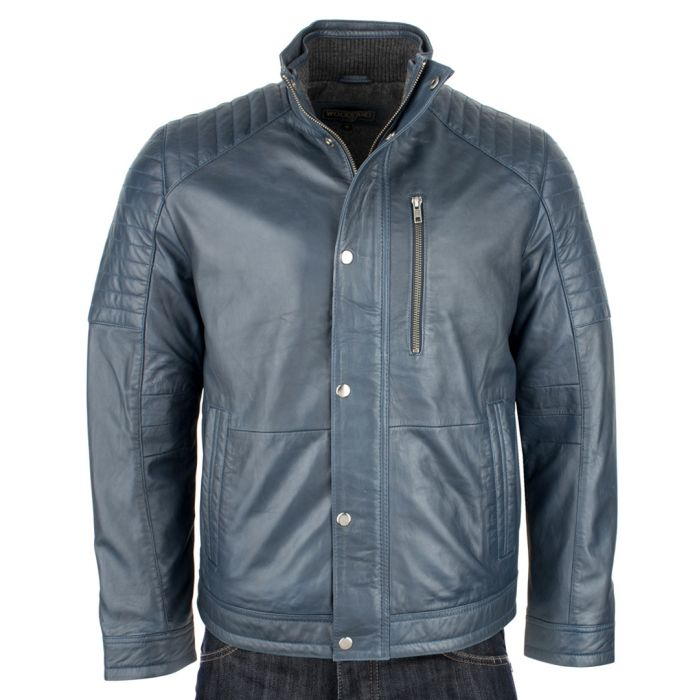 Image for Men's Navy leather jacket