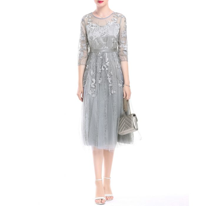 Image for Grey embroidered midi dress