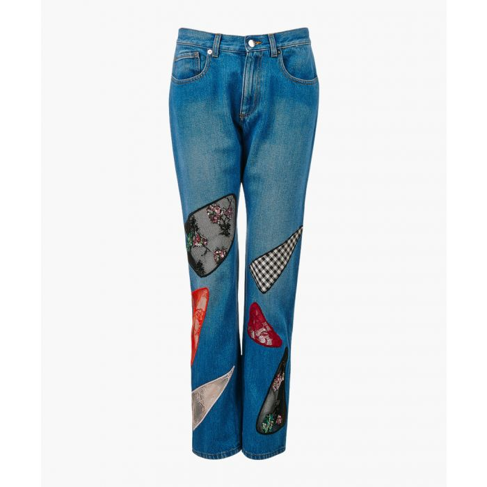 Image for Indigo cotton patch straight jeans
