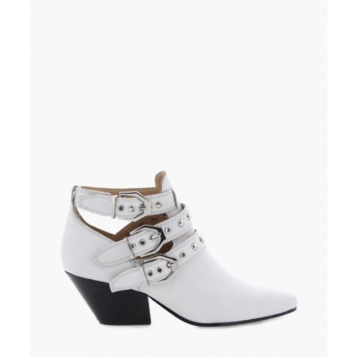 Image for BkeatonX white leather mid-ankle boots