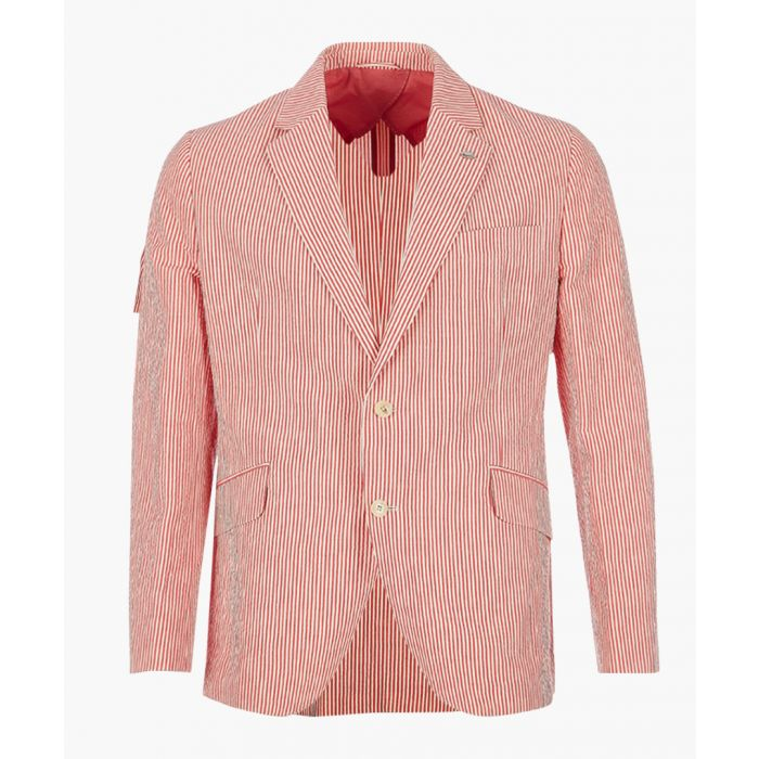 Image for Seersucker red linen blend blazer
