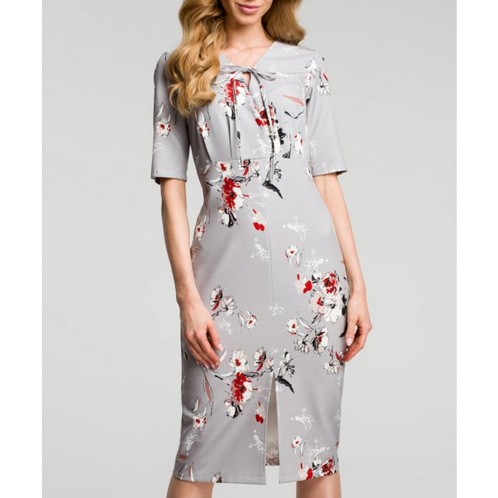 Image for Grey floral print tie-neck dress