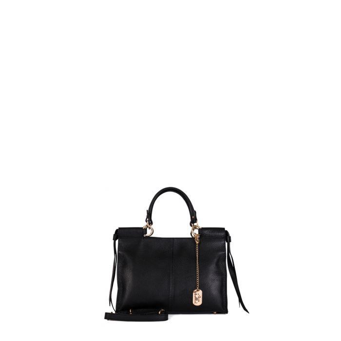 Image for Serena black leather shopper
