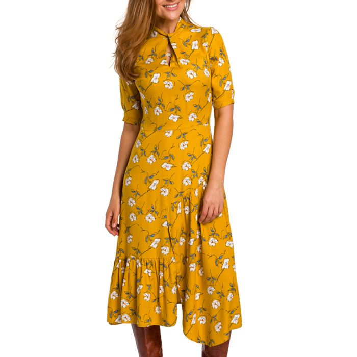 Image for Yellow floral printed midi dress