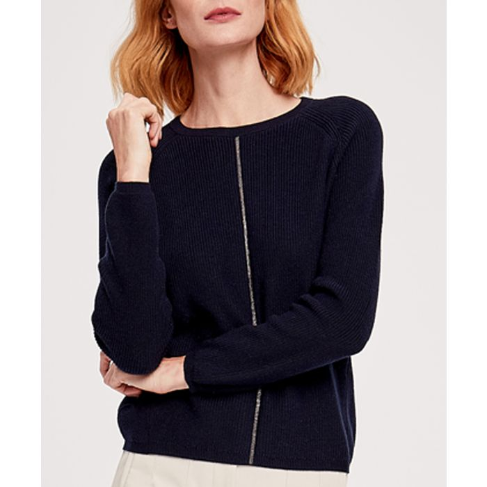 Image for Navy cashmere blend pullover