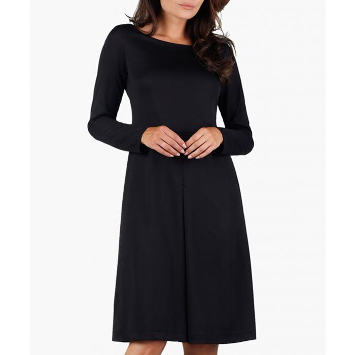 Image for Black long sleeve knee length dress