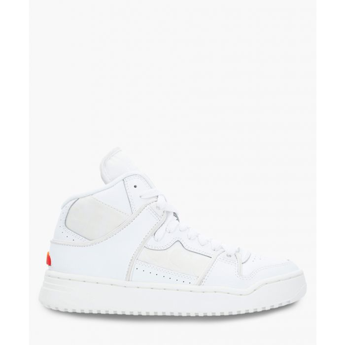 Image for Off white leather high-top sneakers