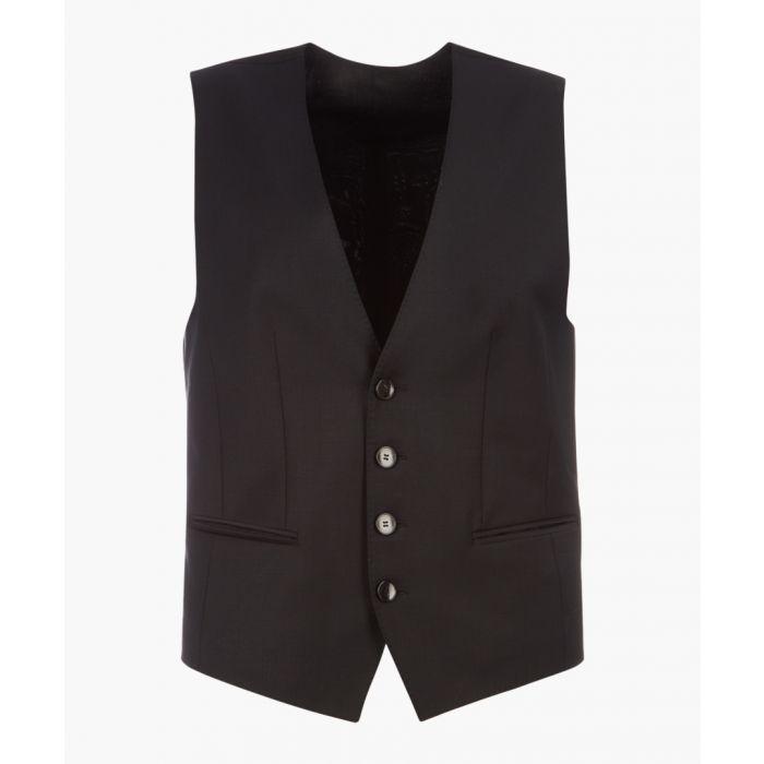 Image for Wilson black virgin wool blend waistcoat