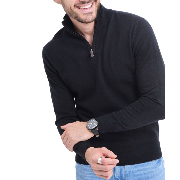 Image for Black cashmere blend semi-zip pullover