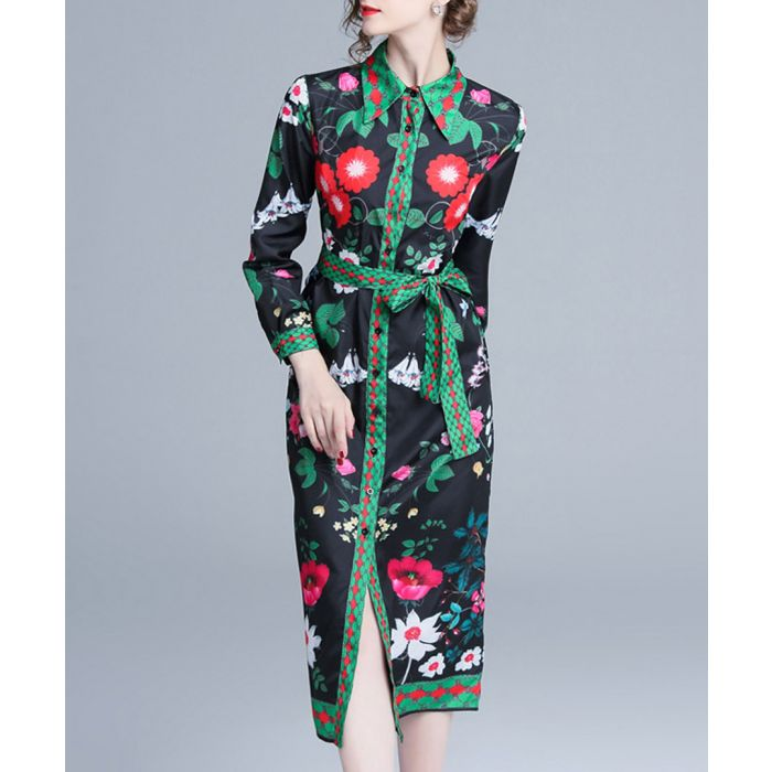 Image for Green floral print button-up midi dress